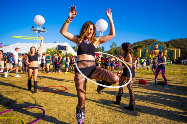Hoop dancers at corporate festival