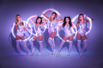 Hula Hoop dancers silver white costumes